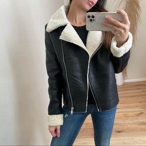 Dylan Faux Leather Fur Jacket | Black